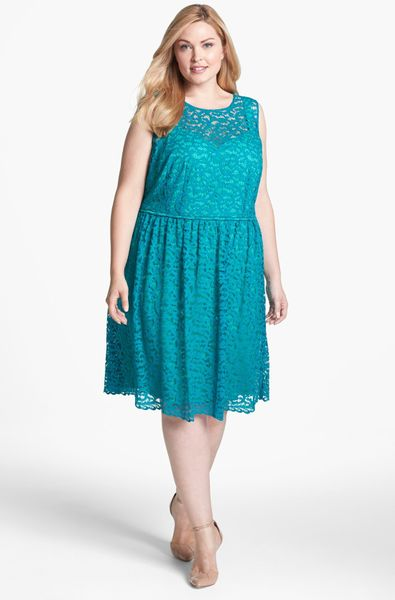 Donna Ricco Lace Fit Flare Dress In Blue Teal Lyst