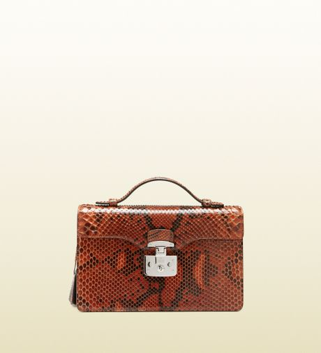 Gucci Lady Lock Python Briefcase Clutch in Brown (rust)