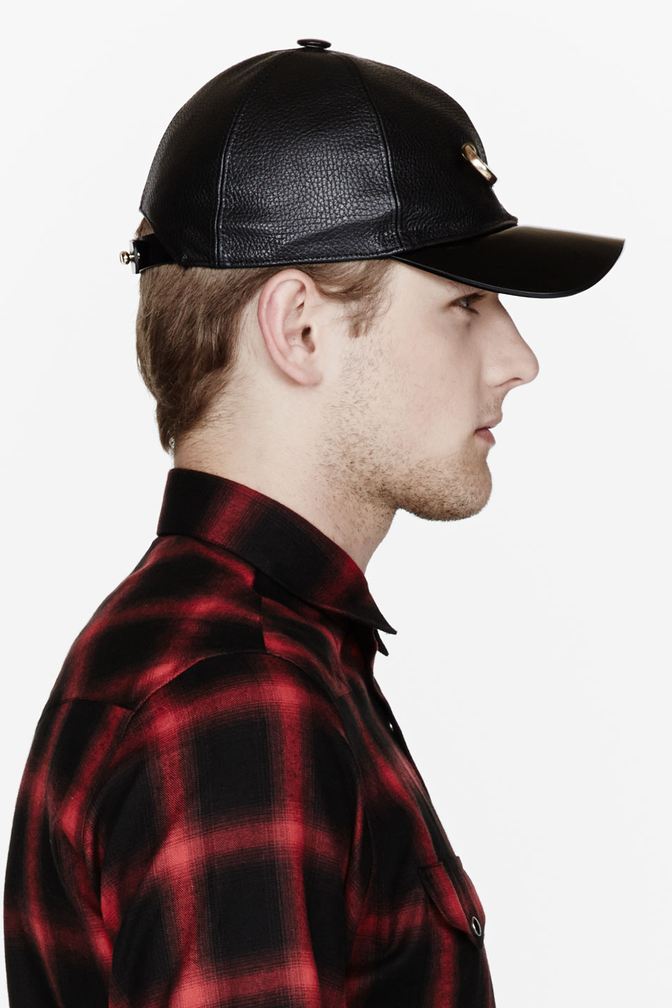 Lyst - Marc Jacobs Black Textured Leather Gold Pin Cap in Black for Men e8bab9dc012