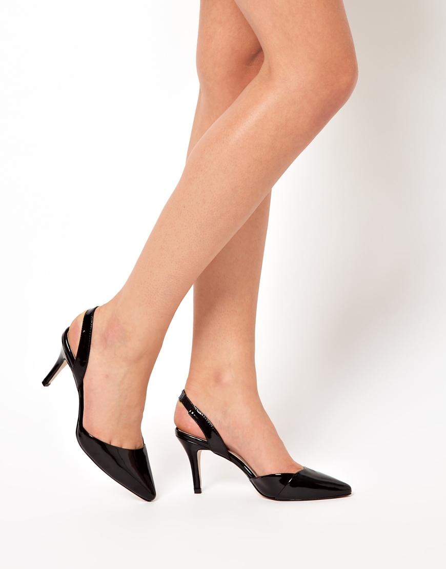Miss Kg Celeste Mid Heel Sling Back Pointed Shoes In Black