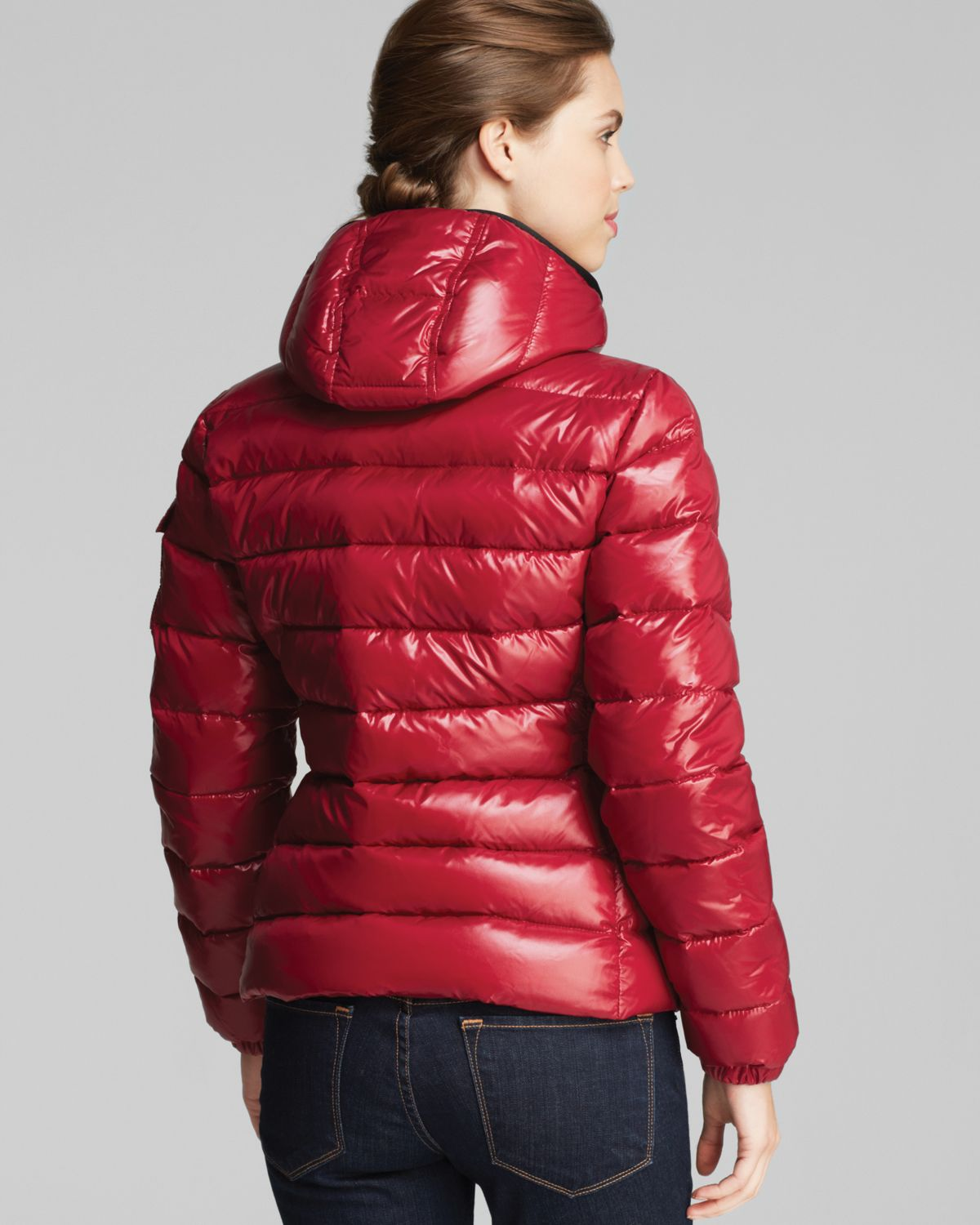 Moncler Bady Lacquer Hooded Short Down Coat In Red Lyst