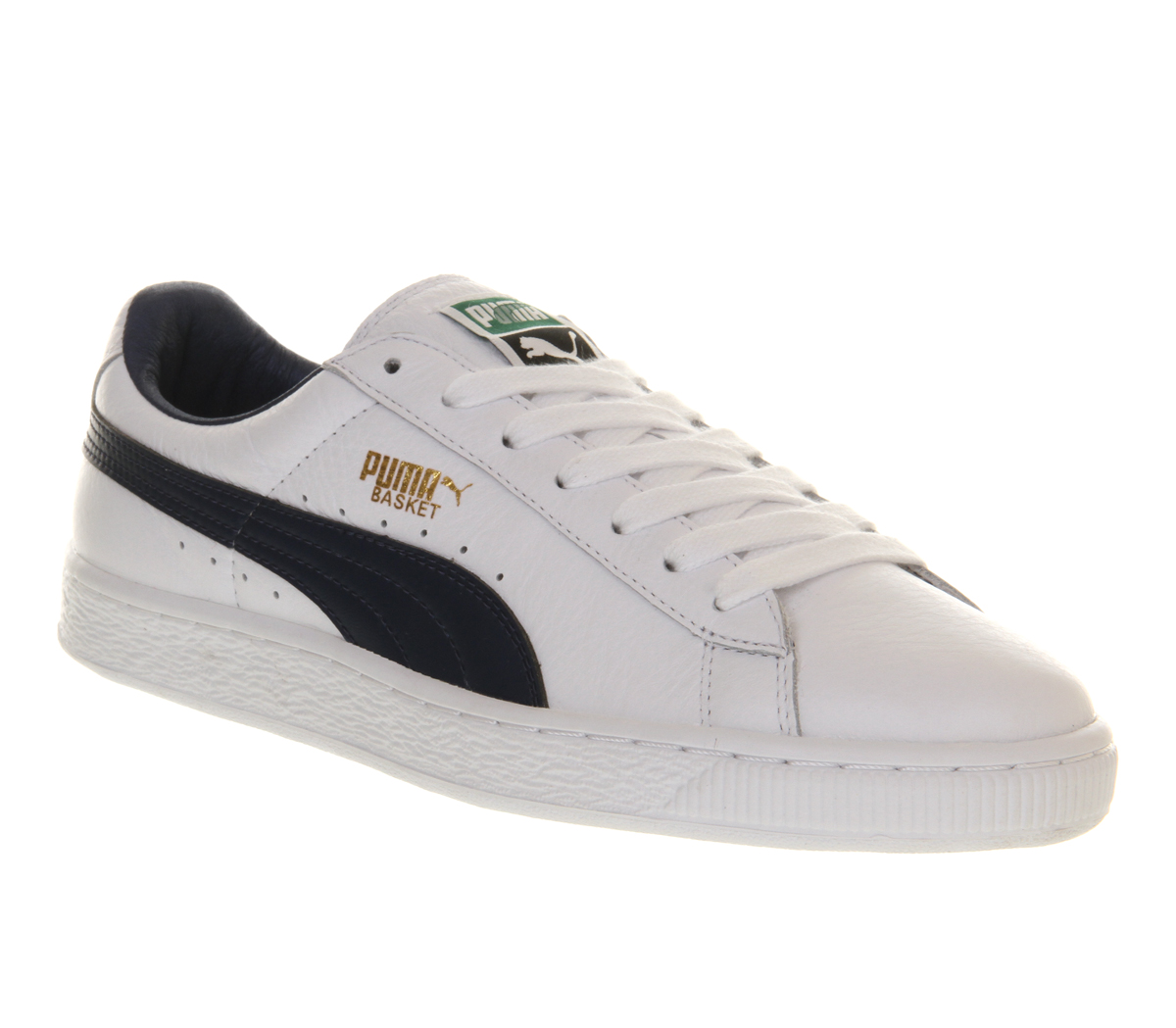 puma basket classic white blue leather in white for men lyst. Black Bedroom Furniture Sets. Home Design Ideas