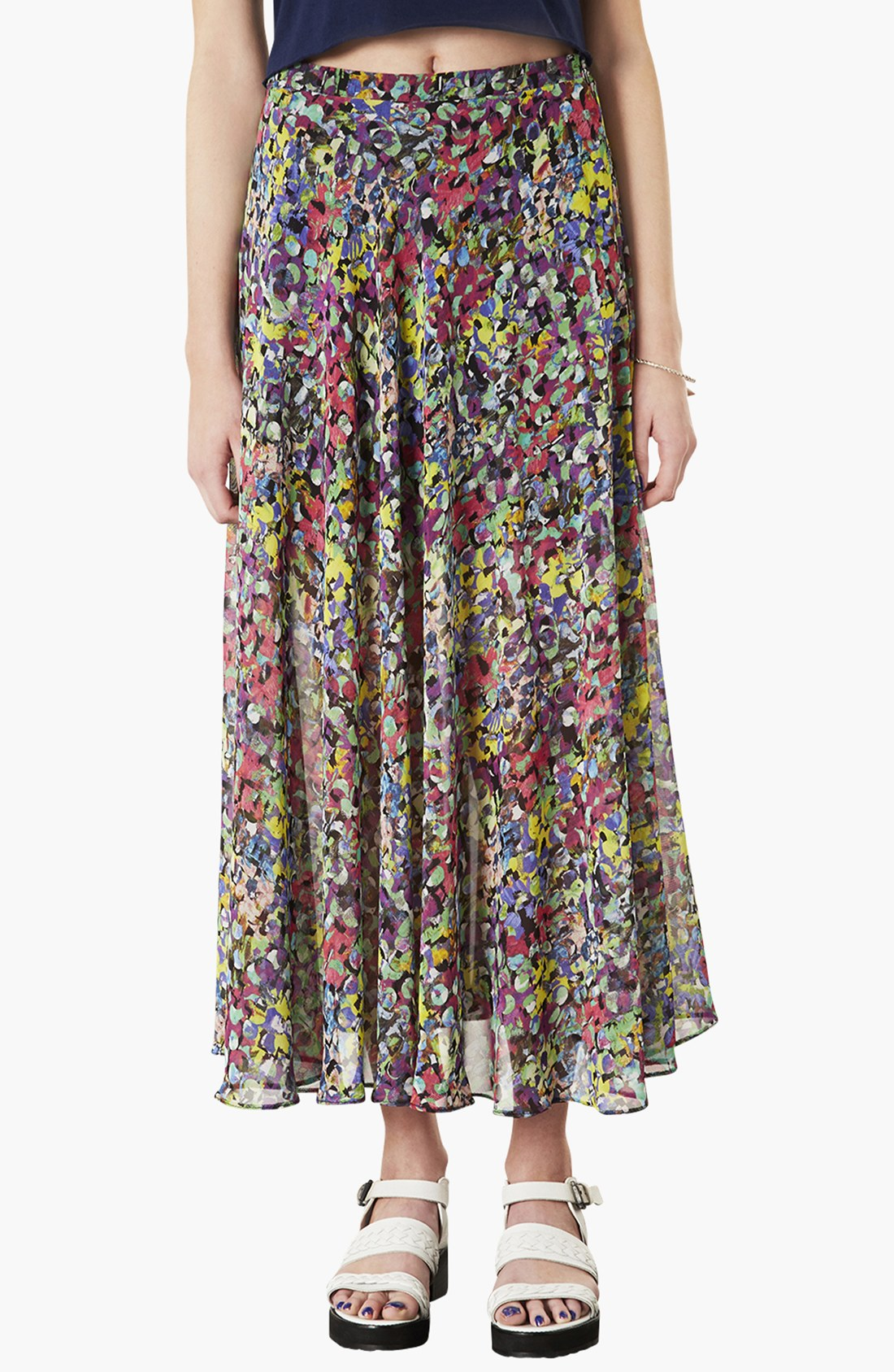 topshop dot floral print maxi skirt in green green multi