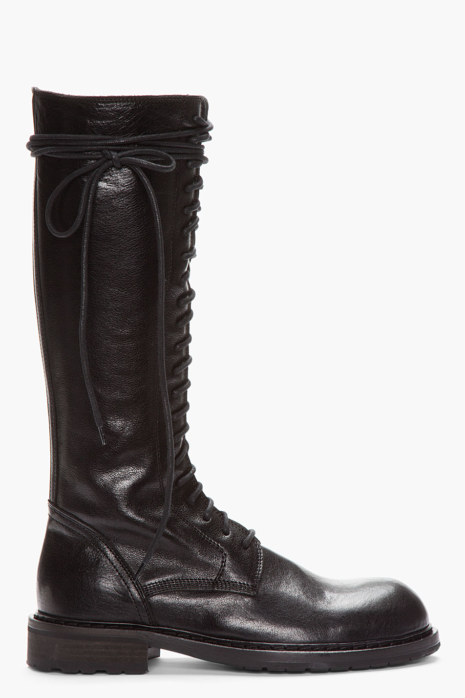 Lyst - Ann Demeulemeester Tall Black Leather Lace_up Boots ... Hugo Boss Green Shoes