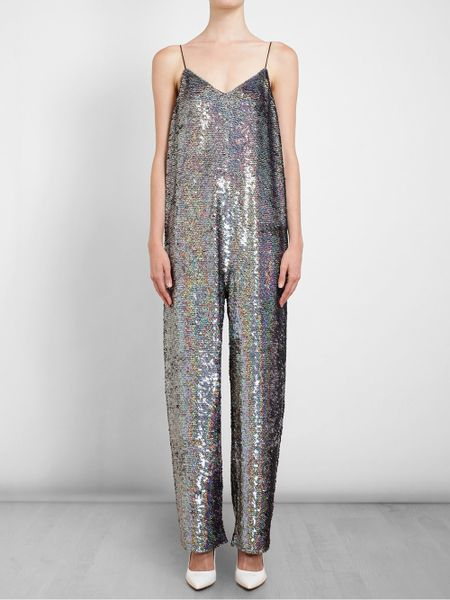 Ashish Holographic Sequin Jumpsuit in Silver | Lyst