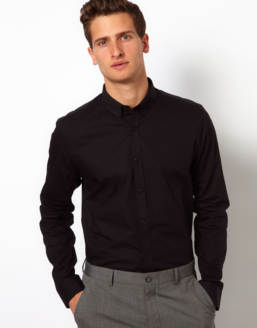 Asos Smart Shirt In Long Sleeve With Button Down Collar in Black ...