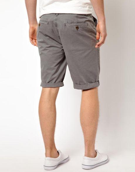 Asos Chino Shorts In Longer Length In Gray For Men Grey