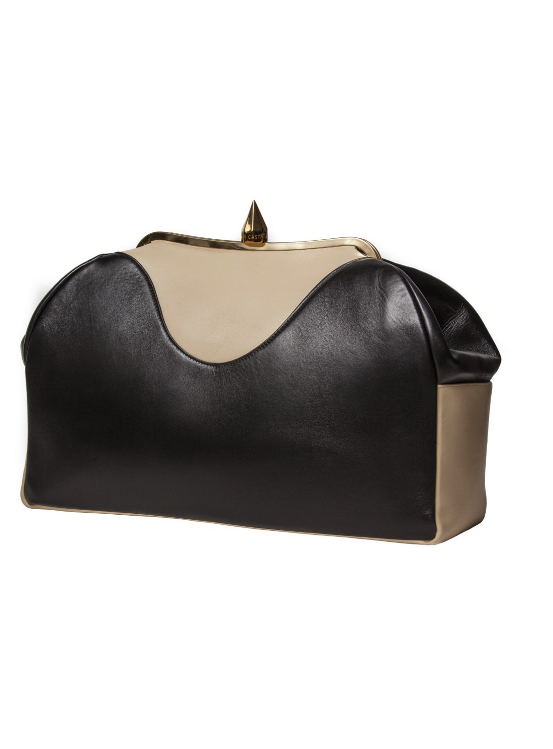 Bionda castana Livia Luxe Oversized Clutch Bag In Black/Nude By in ...