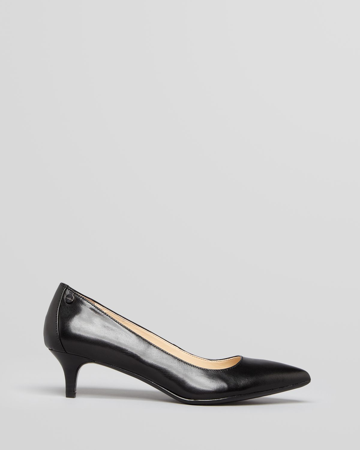 Calvin klein Pointed Toe Pumps Nicki Kitten Heel in Black | Lyst