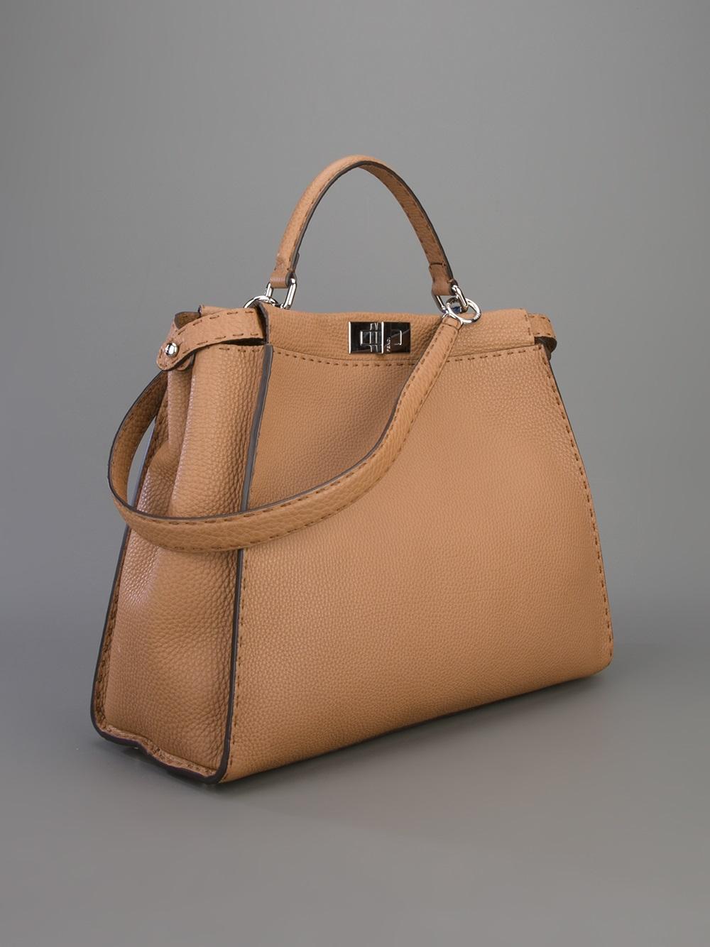 2406f41c3d ... purchase lyst fendi selleria peekaboo tote bag in brown d2ea5 3a6dc