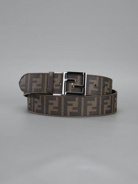 fendi zucca belt in brown lyst