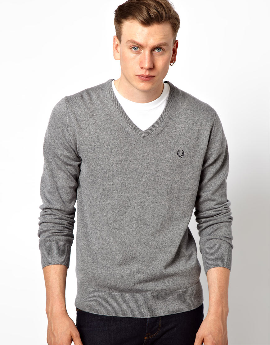 Fred perry classic v neck jumper in gray for men lyst