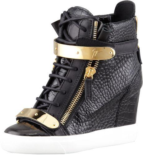 Giuseppe Zanotti Embossed Leather Wedge Sneaker Black in ...