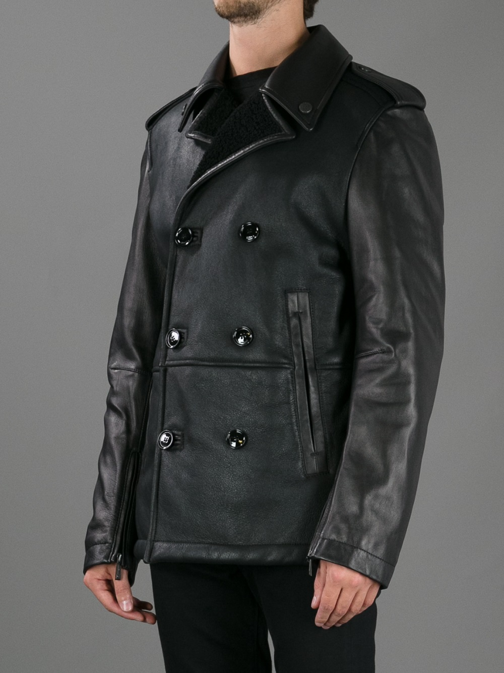 Lyst - Just Cavalli Double Breasted Leather Coat in Black for Men 508a5539d