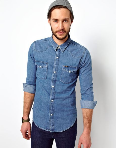 Asos denim shirt western slim fit light stone in blue for for Mens shirts with snaps instead of buttons