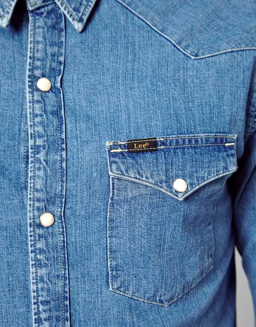Lyst - ASOS Denim Shirt Western Slim Fit Light Stone in Blue for Men 8051b6cd291f2