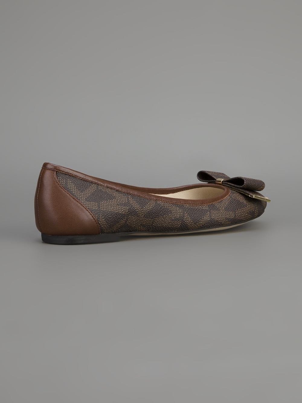 Lyst Michael Kors Delphine Logo Ballet Flat In Gray