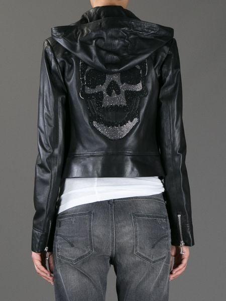 philipp plein skull leather jacket in black lyst. Black Bedroom Furniture Sets. Home Design Ideas