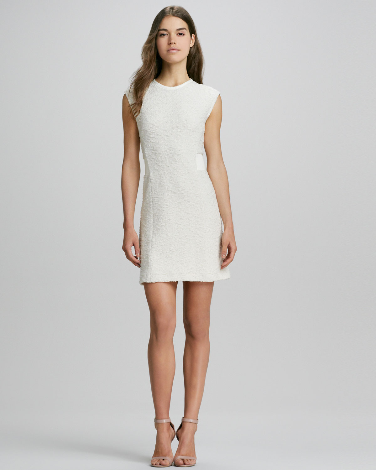 Rebecca taylor Boucle Sheath Dress in White | Lyst