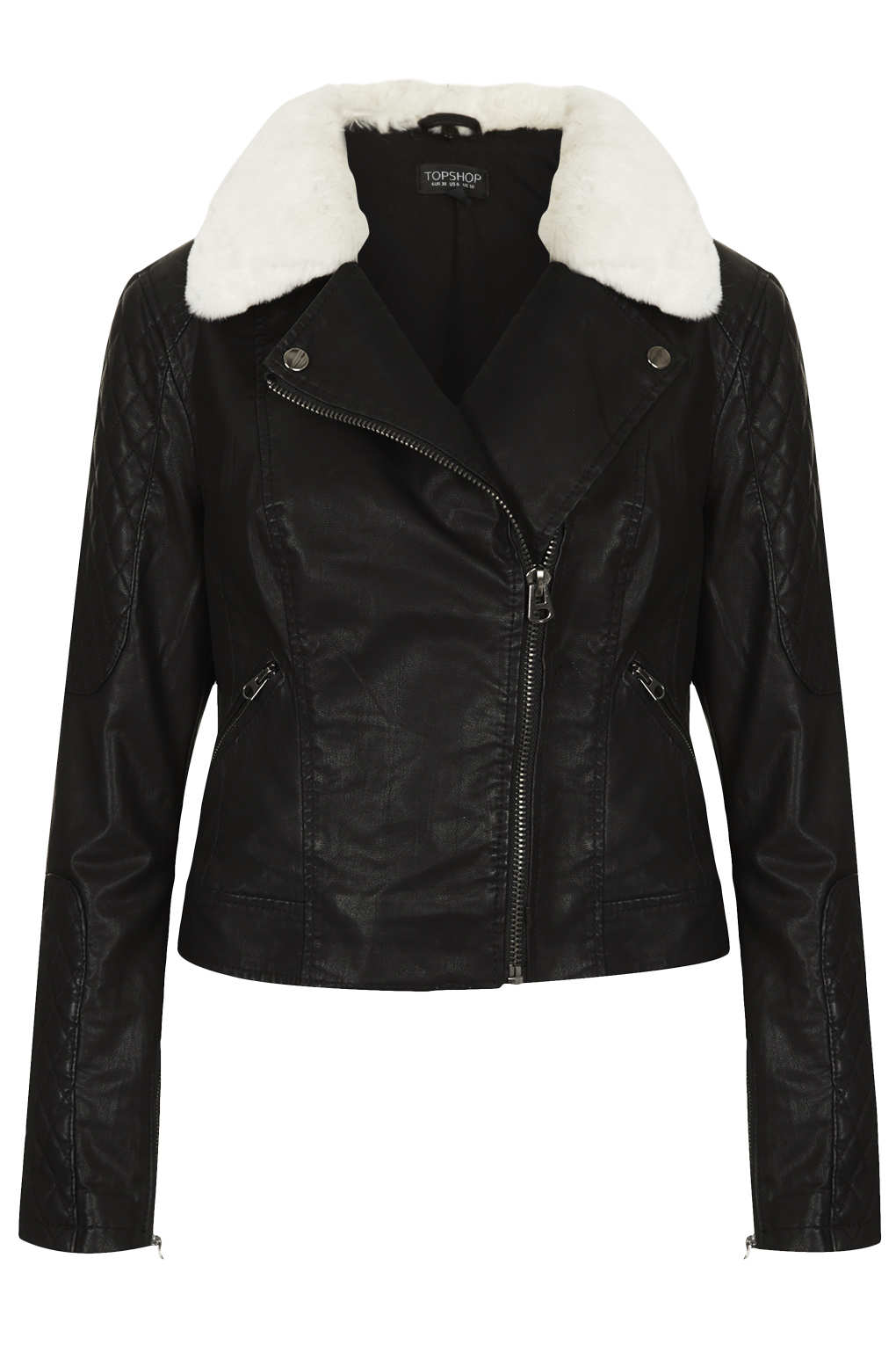 Images of Black Leather Jacket With Fur Collar - Reikian