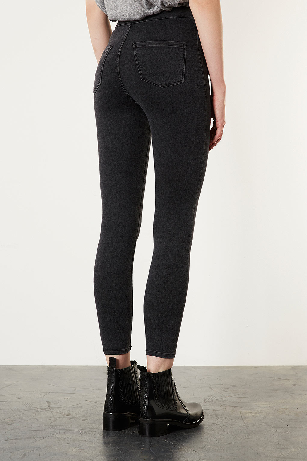 Topshop moto washed black joni jeans in black lyst for Womens denim shirts topshop