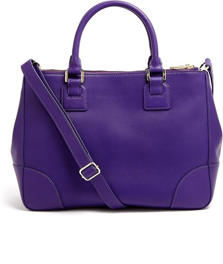 Tory Burch Electric Purple Robinson Double Zip Tote Bag in Purple