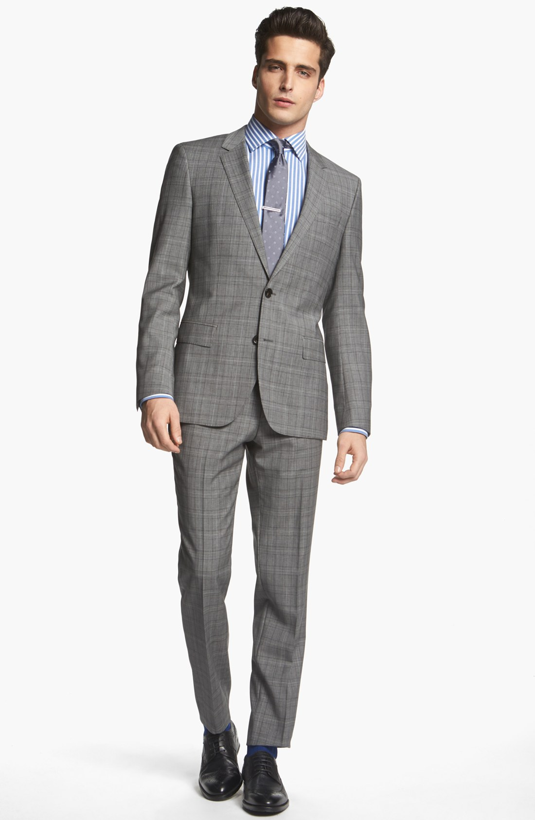 Boss by hugo boss hugegenius extra trim fit plaid suit in for Nordstrom men s dress shirt fit guide
