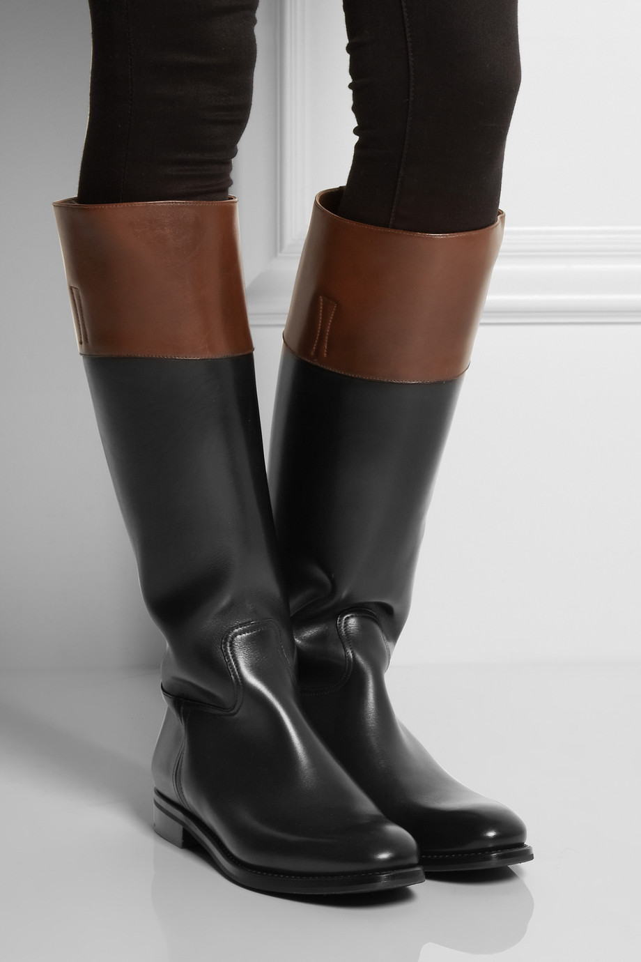 Church S Martina Two Tone Leather Riding Boots In Black Lyst
