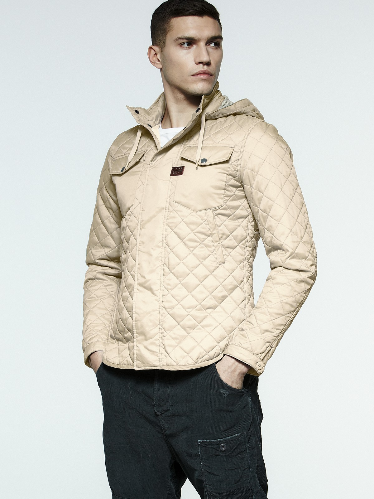 g star raw mens tailored quilted hooded jacket in beige. Black Bedroom Furniture Sets. Home Design Ideas