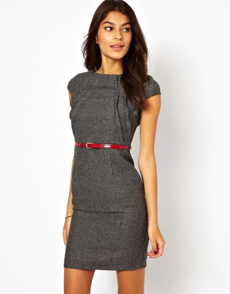tweed pencil dress with belt in gray grey