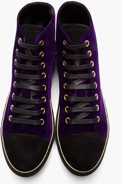 Marc Jacobs Purple Velvet Gold Trimmed High Top Sneakers