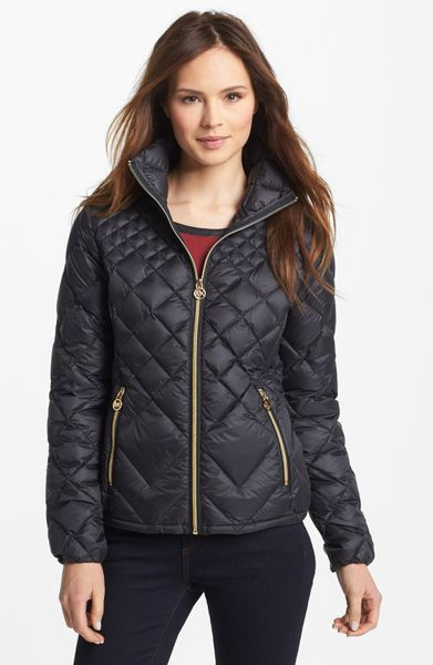 michael michael kors diamond quilted down jacket in black. Black Bedroom Furniture Sets. Home Design Ideas