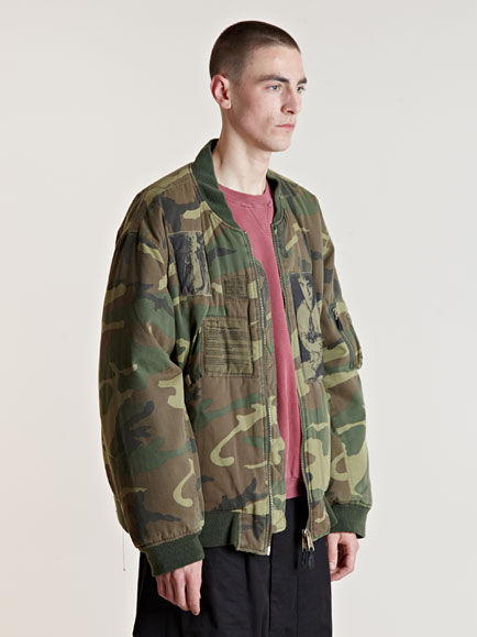 Raf Simons Aw01 Camouflage Bomber Jacket In Green For Men