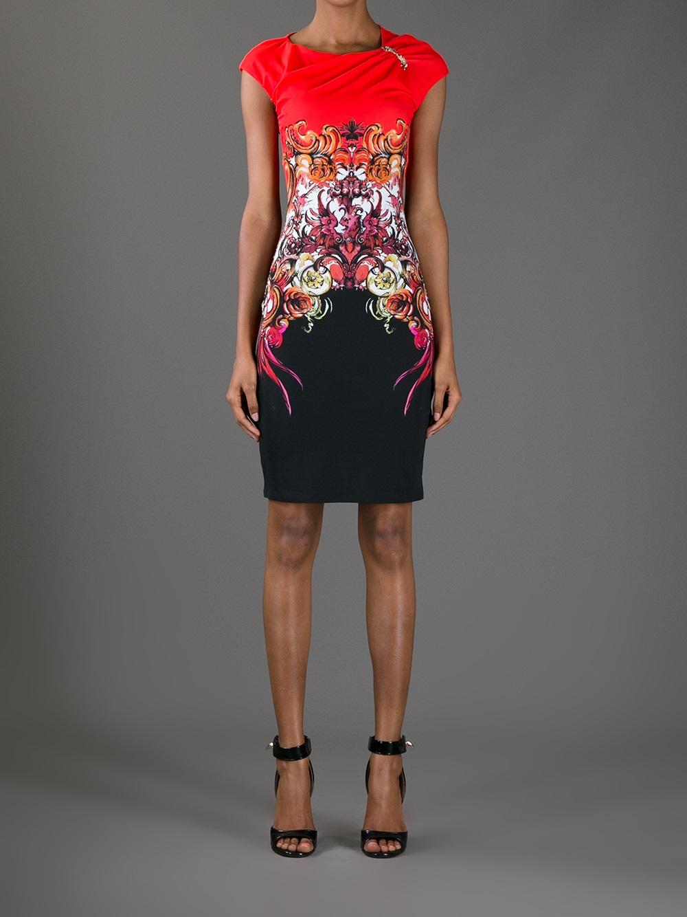 Roberto Cavalli Printed Dress In Red Lyst