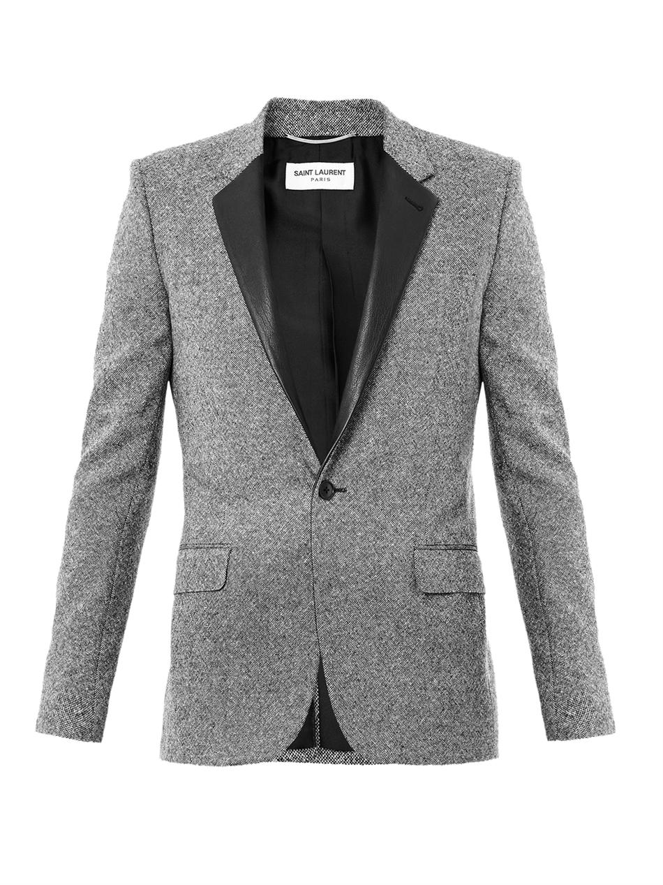 Saint Laurent Leather Lapel Tweed Jacket In Gray For Men