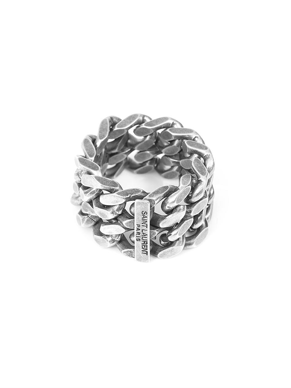 Saint Laurent Silver Chain Ring In Metallic For Men Lyst