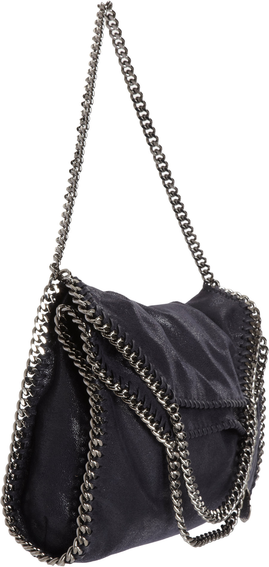 lyst stella mccartney falabella shaggy deer fold over tote in gray. Black Bedroom Furniture Sets. Home Design Ideas