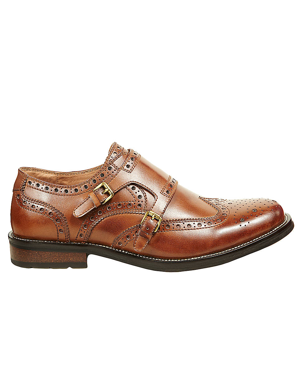 steve madden exec leather brogue dress shoe in brown for