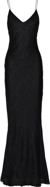 T By Alexander Wang Brocade Maxi Slip Dress in Black (Charcoal)