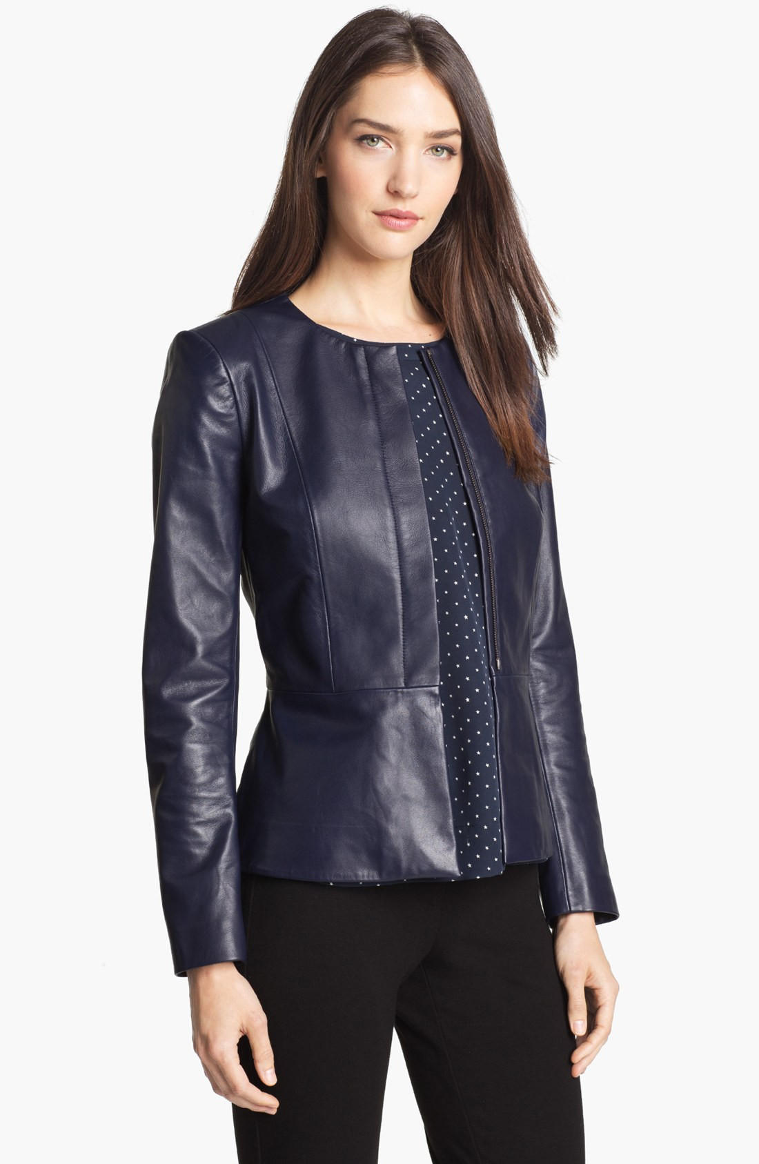 Lyst Theory Alimo Leather Jacket In Blue