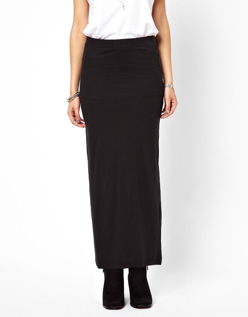 asos vero moda jersey maxi skirt in black lyst