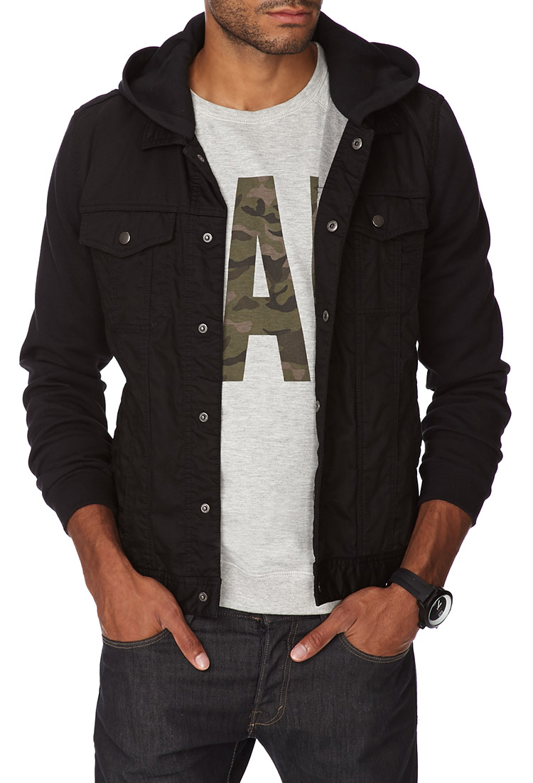Forever 21 Hooded Denim Jacket in Black for Men | Lyst