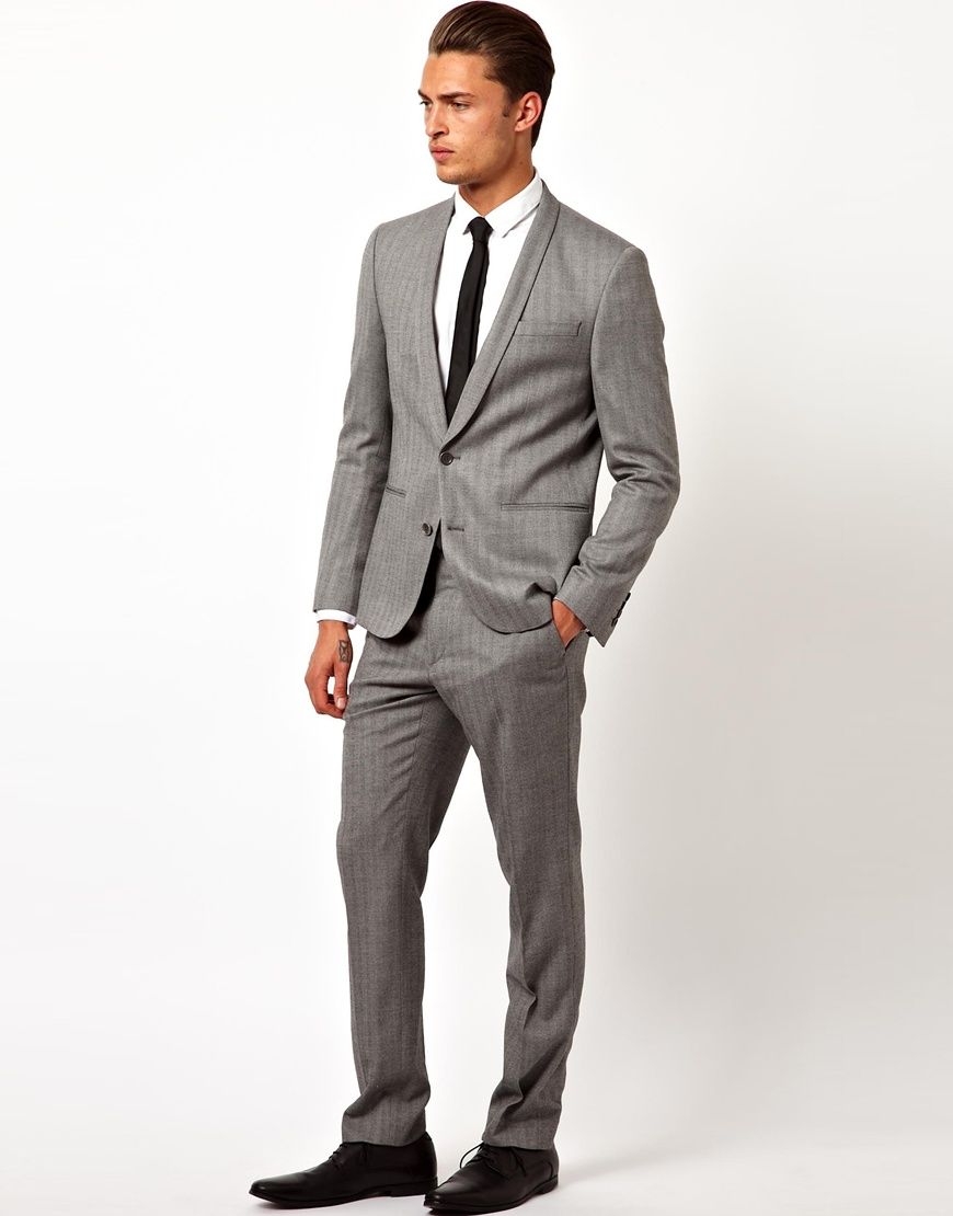 Asos Skinny Fit Suit Trousers in Herringbone in Gray for Men | Lyst