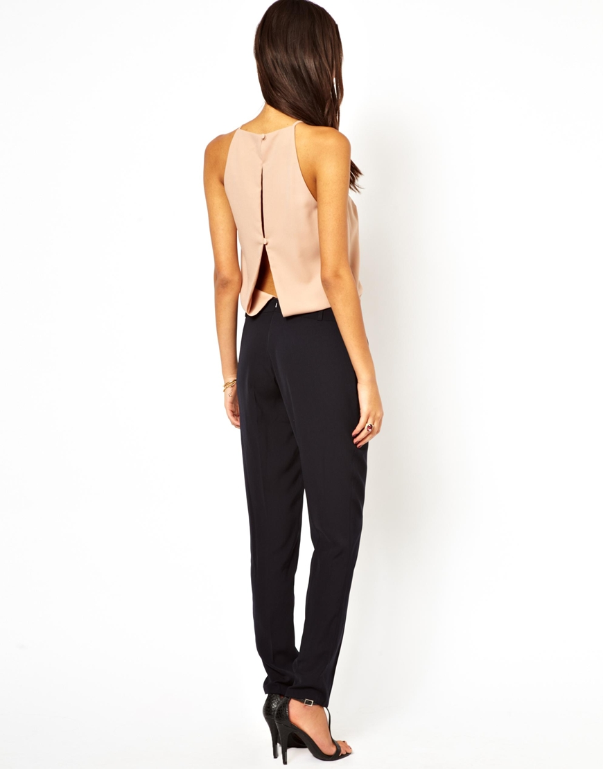 Asos Jumpsuit With Halter In Black Lyst