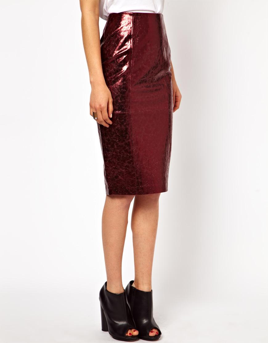 asos pencil skirt in metallic leather in oxblood lyst