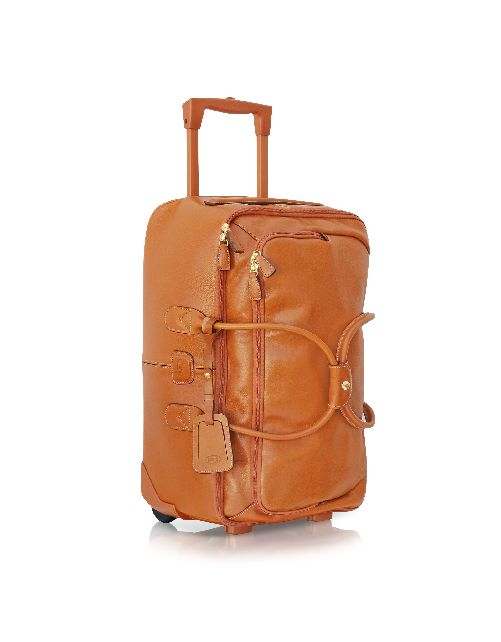 Bric 39 s life pelle large rolling duffle bag in brown lyst for Leather luggage wheeled duffel
