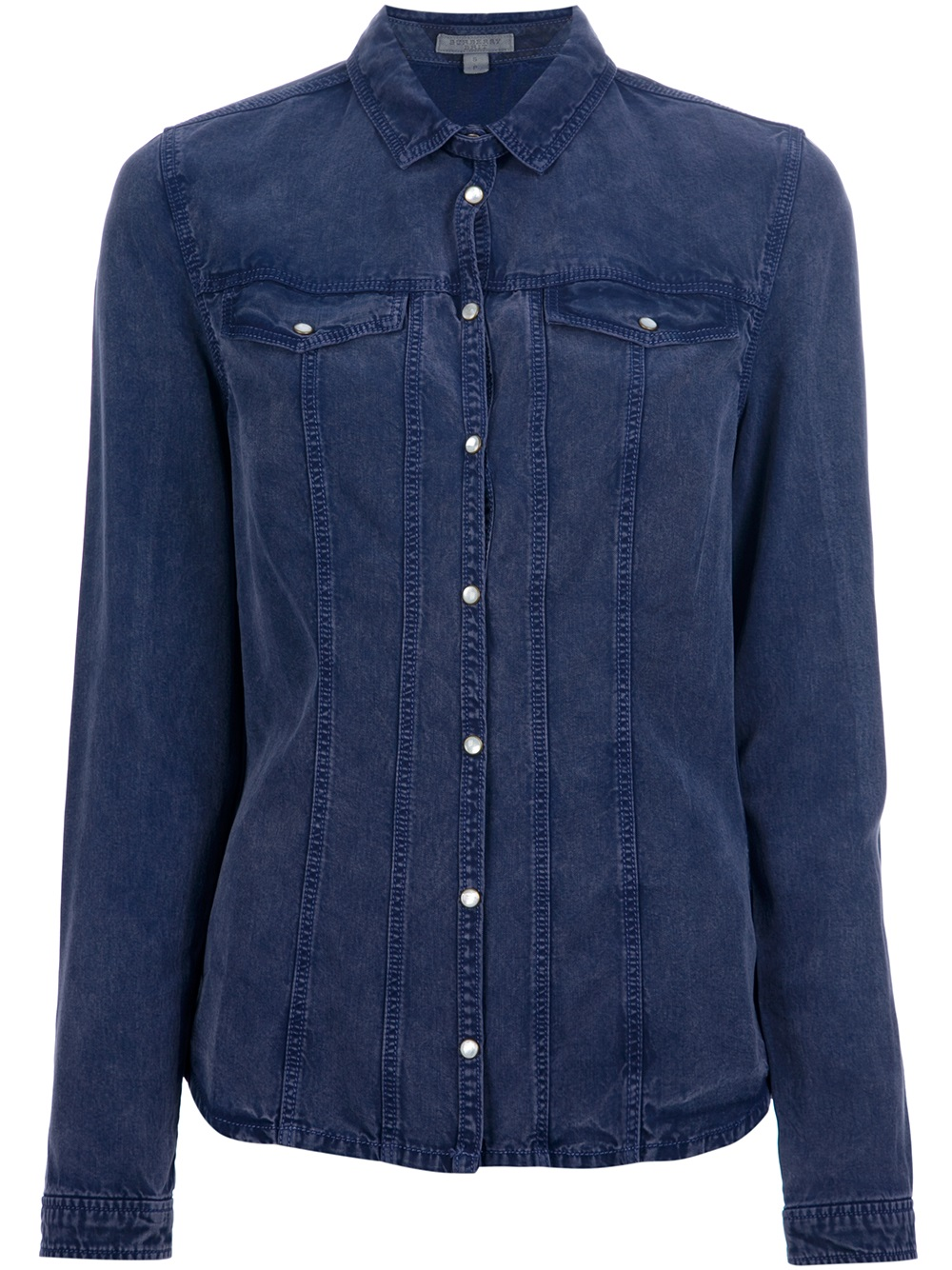 Burberry brit lyocell shirt in blue lyst for Where are burberry shirts made