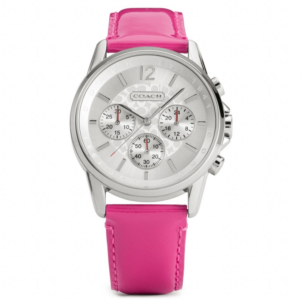73d217219 COACH Classic Signature Chrono Stainless Steel Patent Leather Strap ...