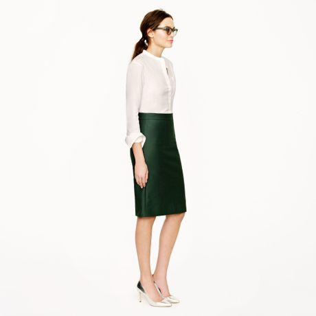 j crew no 2 pencil skirt in doubleserge cotton in green