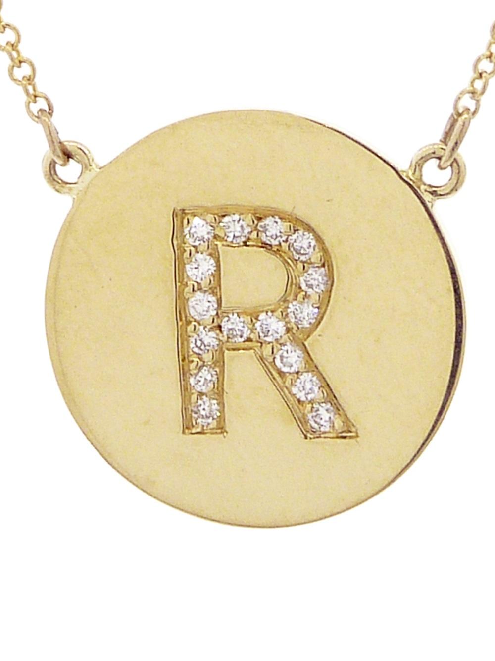 Jennifer Meyer R Letter Necklace in Yellow (Metallic)